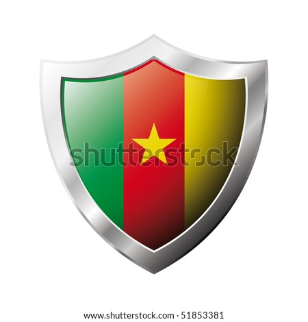 Cameroon flag on metal shiny shield vector illustration. Collection of flags on shield against white background. Abstract isolated object.