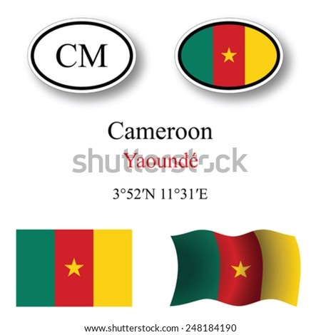 cameroon icons set icons set against white background, abstract vector art illustration, image contains transparency - stock vector