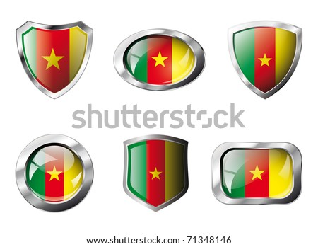 Cameroon set shiny buttons and shields of flag with metal frame - vector illustration. Isolated abstract object against white background.