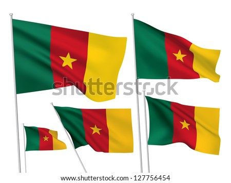 Cameroon vector flags. A set of 5 wavy 3D flags created using gradient meshes - stock vector
