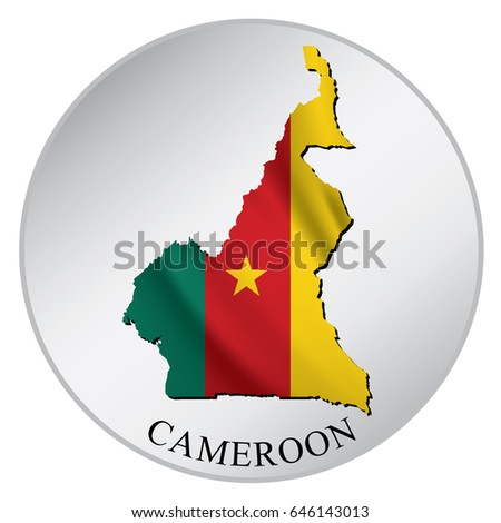 Cameroon vector sticker with flag and map label round tag with country name