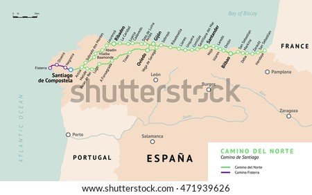 Camino Del Norte Map Camino De Stock Vector Shutterstock - Portugal norte map