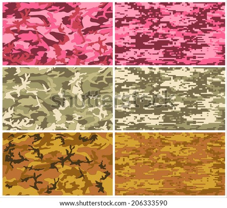 Camouflage fabric pattern shape in vector format. Set of camo pattern, police and military green, orange, red. and black. isolated vector art abstract background illustration eps10 - stock vector