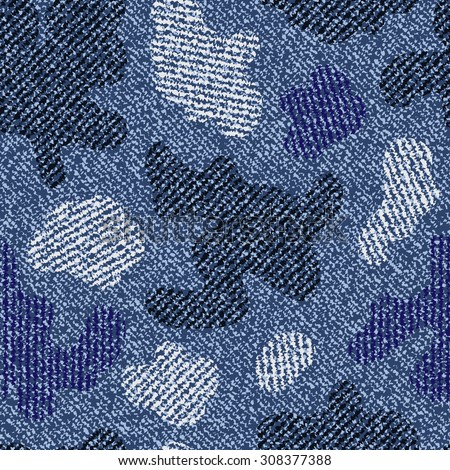 Camouflage Jeans background. Vector Denim seamless pattern. Blue jeans cloth. - stock vector