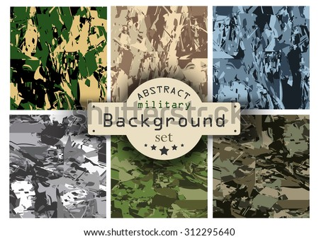 Camouflage military background set. Vector illustration, EPS10 - stock vector