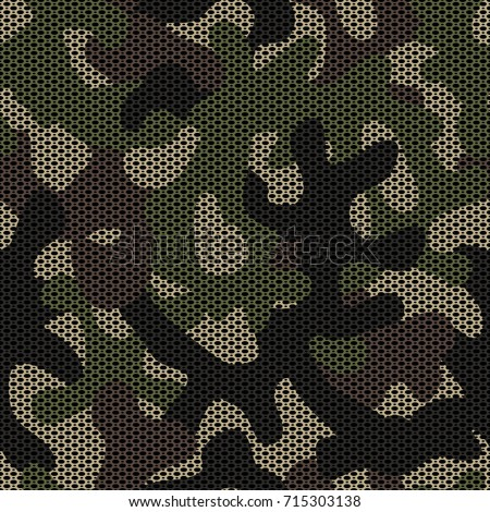 Camouflage netting. Seamless vector pattern. Forest coloring. Texture hiding the shape and outline of the object. Abstract military background for army design. Spotted camouflage.