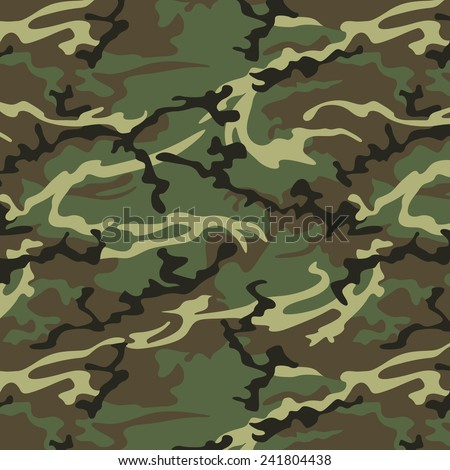 Camouflage seamless pattern in khaki green. Woodland style vector texture - stock vector