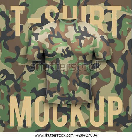 Camouflage t-shirt on camo background. Front Product mock up and sample. Vector Illustration - stock vector
