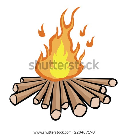 camp fire illustration isolated on white - stock vector