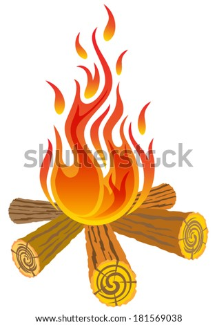 Camp fire isolated on white background - stock vector