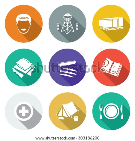 Camp for displaced persons Icons Set. Vector Illustration. Isolated Flat Icons collection on a color background for design