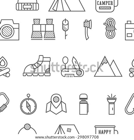 Camp, travel seamless pattern with thin line icon style, flat design. Mountain and climbing theme with touristic tent,  axe and other equipment and elements. Isolated on white background. Vector. - stock vector