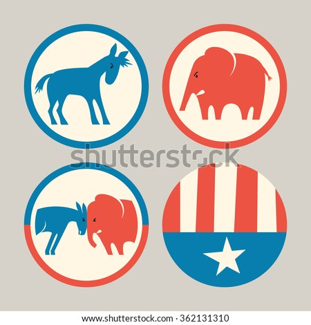 campaign buttons icons of republican elephant and democrat donkey - stock vector