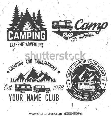 Camper And Caravaning Club Vector Illustration Concept For Shirt Or Logo Print