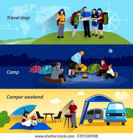 Camper people horizontal banners set with camp family picnic and travel map symbols flat isolated vector illustration  - stock vector