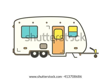 Camper Trailer Vector Line Illustration