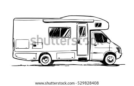 Camper Van Illustration Side View Stock Vector 529828408