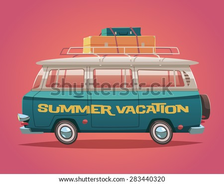 Camper van. Summer vacation. Vector illustration. - stock vector
