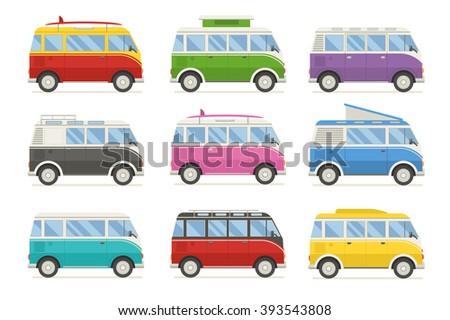 Camper van vacation travel set. Different minivans on white background. Travel van vector. Rv van for summer travel. Collection camper van flat design. Retro van. Tourist van. Travel van. Surfing van. - stock vector