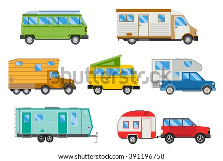 Campers vacation travel car and campers car for summer travel. Vector illustration set of different campers travel car flat transport. Travel car house, van home, truck house - stock vector