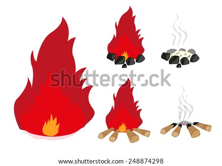 Campfire in charcoal and wood set - stock vector