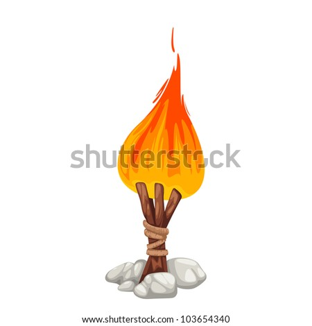 Campfire with stone isolated of illustration - stock vector