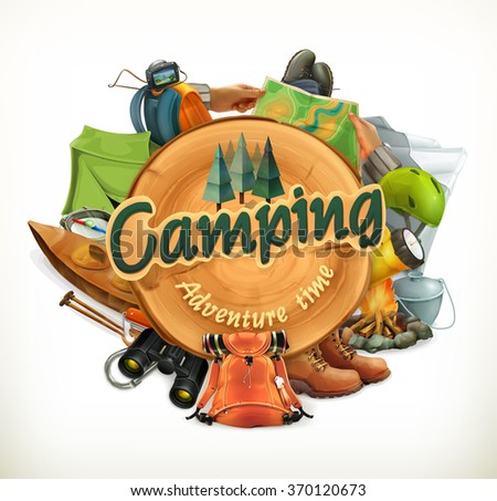 Camping, adventure time vector illustration - stock vector