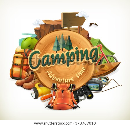 Camping adventure time vector illustration - stock vector