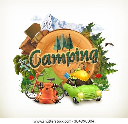 Camping, adventure time, vector illustration - stock vector