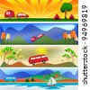 Camping and Caravaning Vector Banner Templates - stock vector