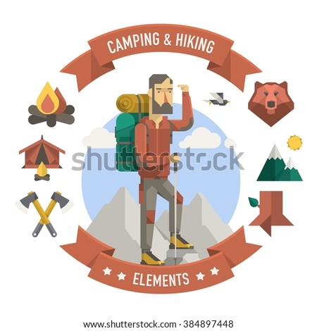 camping and hiker illustration, vector elements - stock vector