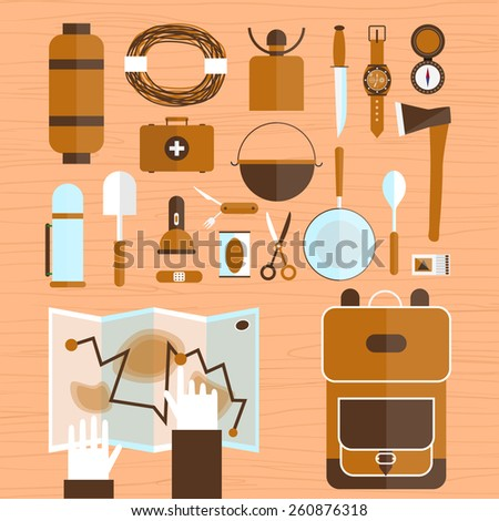 Camping and hiking equipment elements. Adventure. Colorful vector flat design. Set icons.  - stock vector