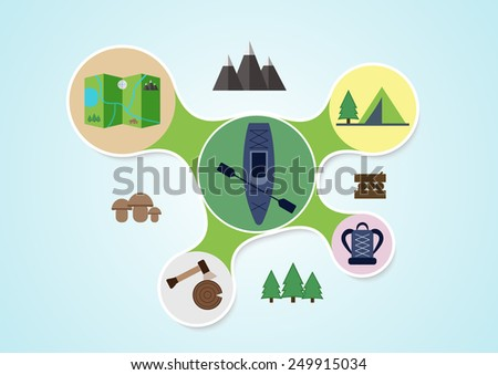 Camping and kayak graphic in round style, outdoor elements on multicolor rounds background, travel info graphic. Vector illustration - stock vector