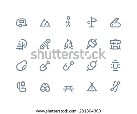 Camping and outdoor icons. Lines series - stock vector