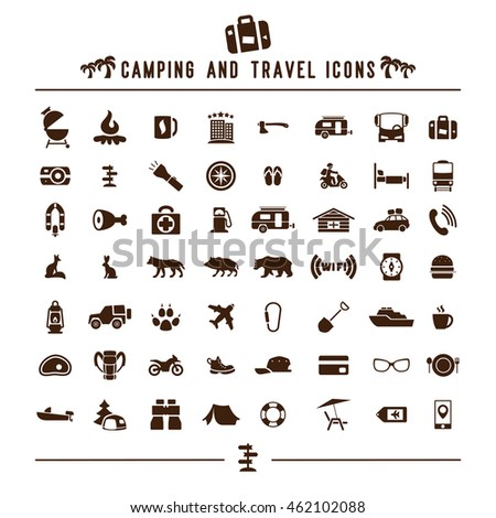 camping and travel icons set