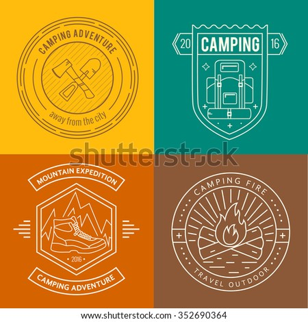 Camping badges set in thin line style. Camping and outdoor activity logo collection . Adventure, hiking, scout, exploration concept  - stock vector