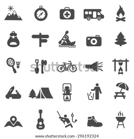 Camping black icons set.Vector - stock vector