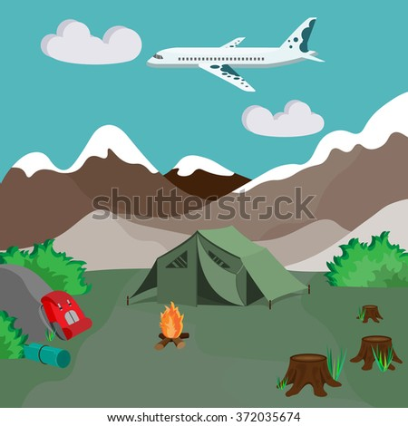 Camping by the mountains with campfire and tent - stock vector