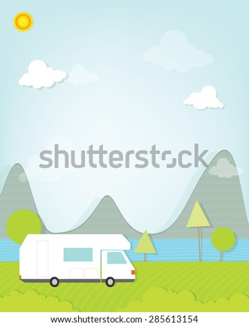 camping car in forest - stock vector