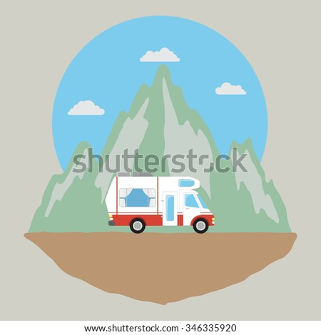 camping car on mountain road - stock vector