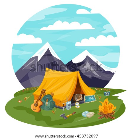 Camping cartoon vector. Tourist tent in mountains. Guitar, kerosene lamp, compass, map, ax, canned.  Background for travel trekking hiking, sports, adventures in nature, outdoor recreation.