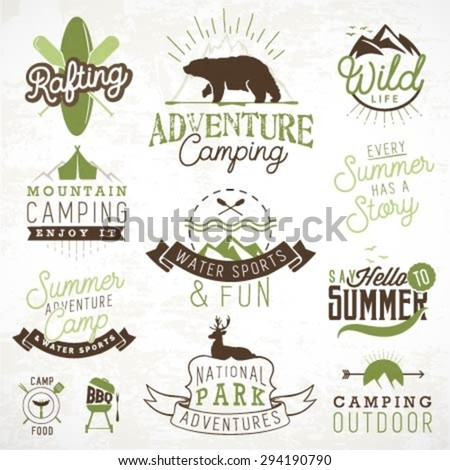 Camping Design Elements, Labels and Badges in Vintage Style - stock vector