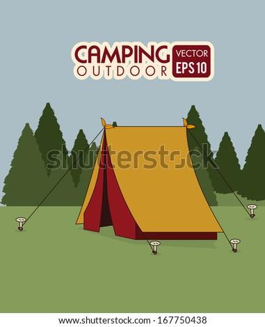 camping design over landscape background vector illustration - stock vector