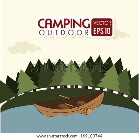 camping design over landscape background vector illustration  - stock vector