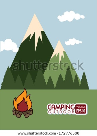 camping design over sky background vector illustration   - stock vector
