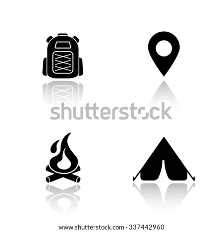 Camping drop shadow icons set. Hiking backpack, map pin mark, campfire, tourist camp tent. Outdoor recreation and travel equipment. Cast shadow logo concepts. Vector black silhouette illustrations - stock vector