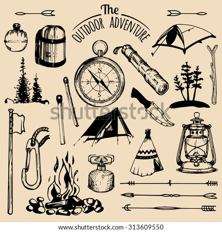 Camping elements. Vector set of vintage tourism. Retro collection of outdoor adventures.
