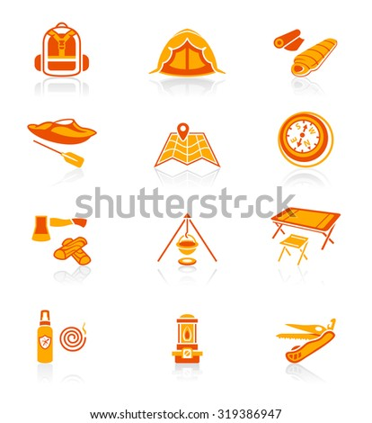 Camping equipment and tools red-orange icon-set