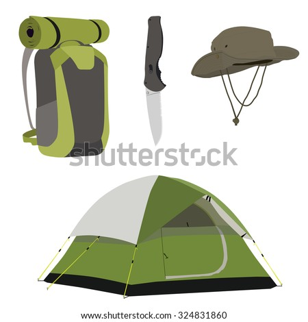 Camping equipment green camping tent, travel backpack, knife and exploration hat vector illustration. Camping gear icon set - stock vector