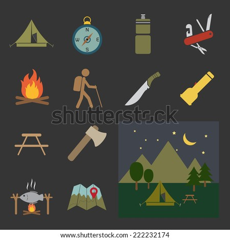 camping equipment icon - stock vector